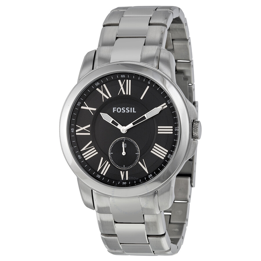 898afbae91c9 Fossil Grant Black Dial Stainless Steel Men s Watch FS4973 - Grant ...