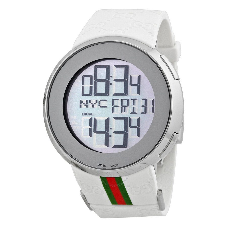 7fca3ded9 Gucci I-Gucci Striped White Rubber Extra Large Unisex Digital Watch  YA114214 ...