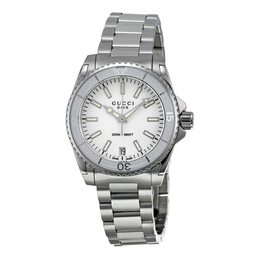 8e8fe56bd20 Gucci Dive Medium White Dial Stainless Steel Unisex Watch YA136402 ...