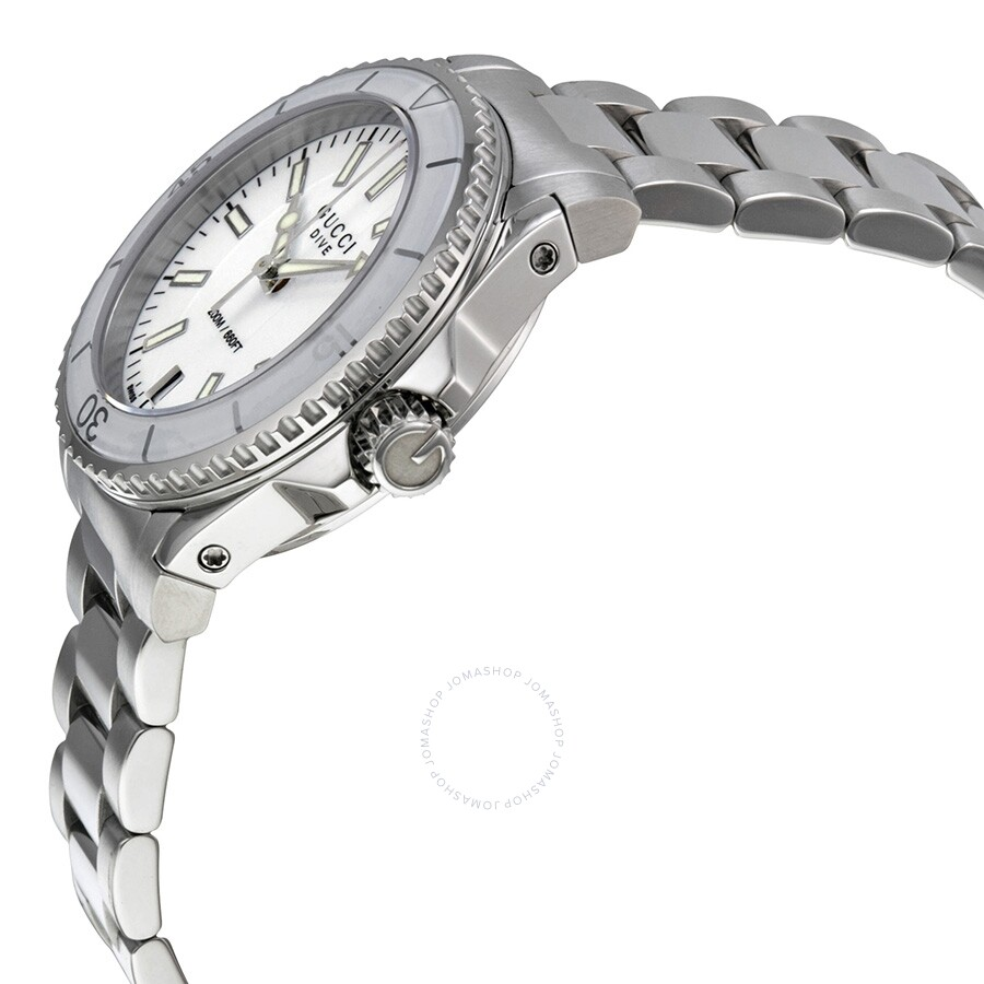 e255dfa3090 ... Gucci Dive Medium White Dial Stainless Steel Unisex Watch YA136402 ...