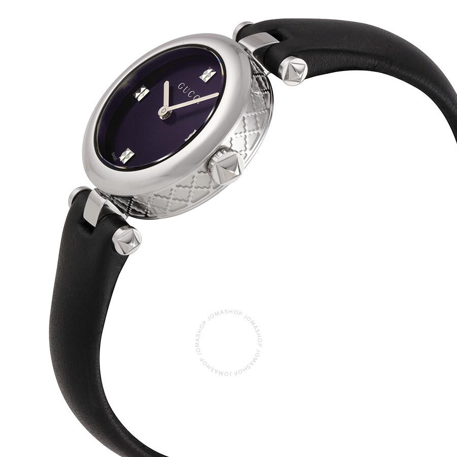 c63049fa4cd ... Gucci Diamantissima Black Dial Black Leather Ladies Watch YA141506 ...