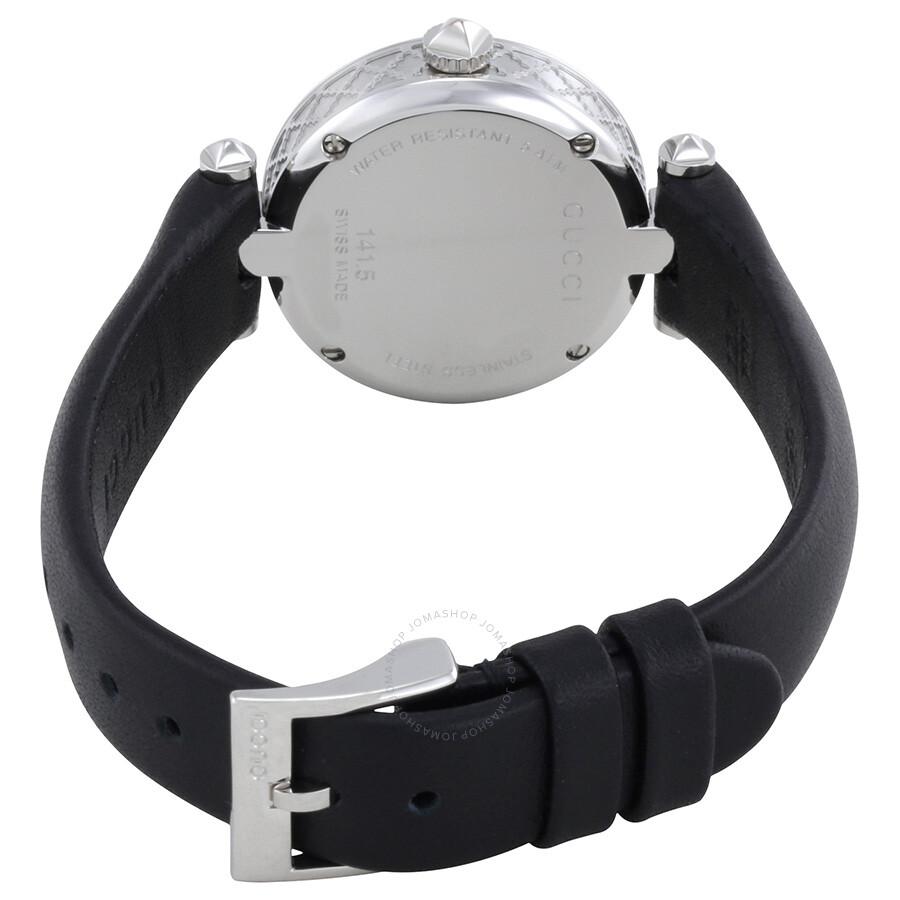 e30ee187f72 Gucci Diamantissima Black Dial Black Leather Ladies Watch YA141506 ...
