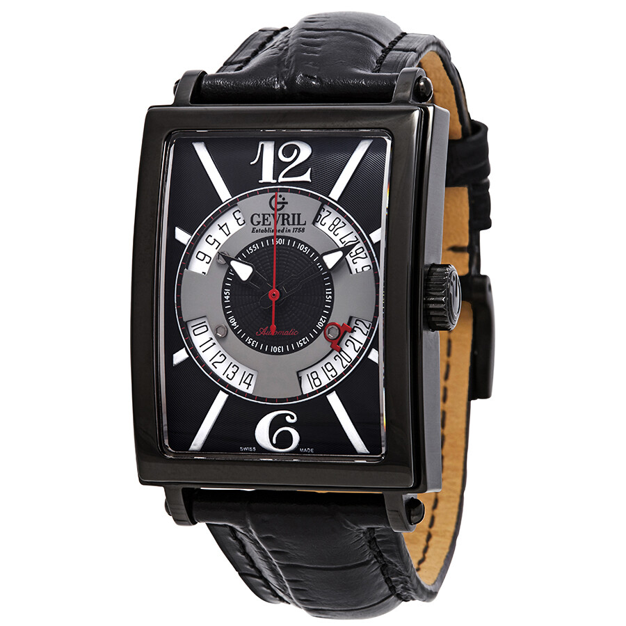 Gevril avenue of americas black dial automatic men 39 s watch 5050 gevril watches jomashop for Gevril watches