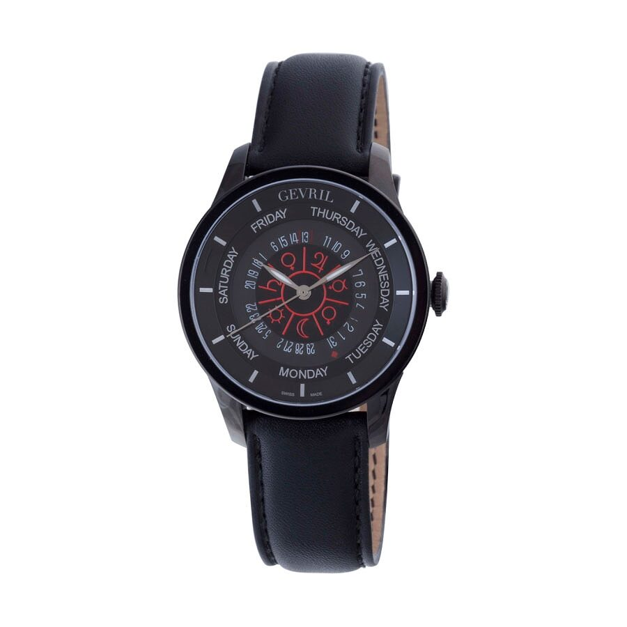 Gevril columbus circle black dial automatic black leather men 39 s watch 2001 gv2 by gevril for Gevril watches