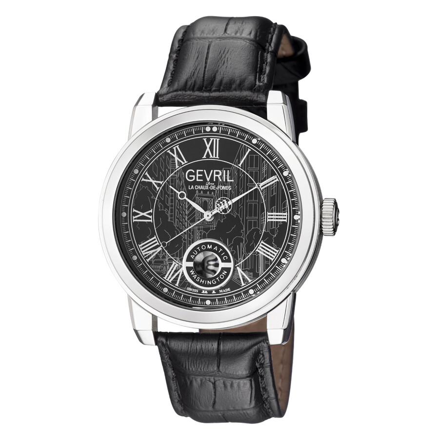 Gevril washington black dial automatic men 39 s watch 2621l gevril watches jomashop for Gevril watches