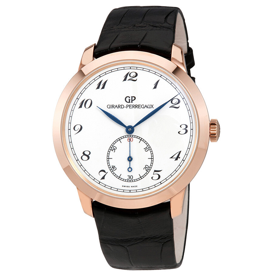 Girard perregaux gp 1966 white dial 18kt pink gold black leather men 39 s watch 49534 52 711 bk6a for Girard perregaux