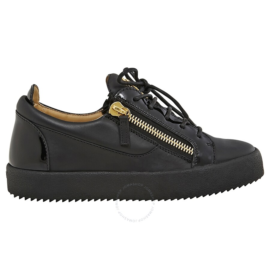 1e2f28d6add85 Giuseppe Zanotti Men's Black Double Zip Low Sneaker Item No. GIUZ-RU7000BK