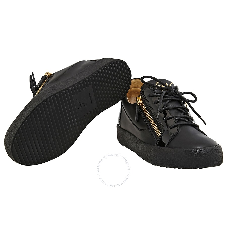 628ae416c87ab Giuseppe Zanotti Men's Black Double Zip Low Sneaker - Designer ...