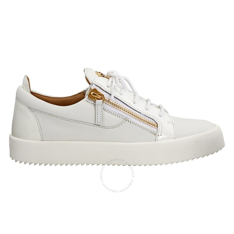 58e42ddc8209f Giuseppe Zanotti Men's White Double Zip Low Sneaker Item No. RU7000WH