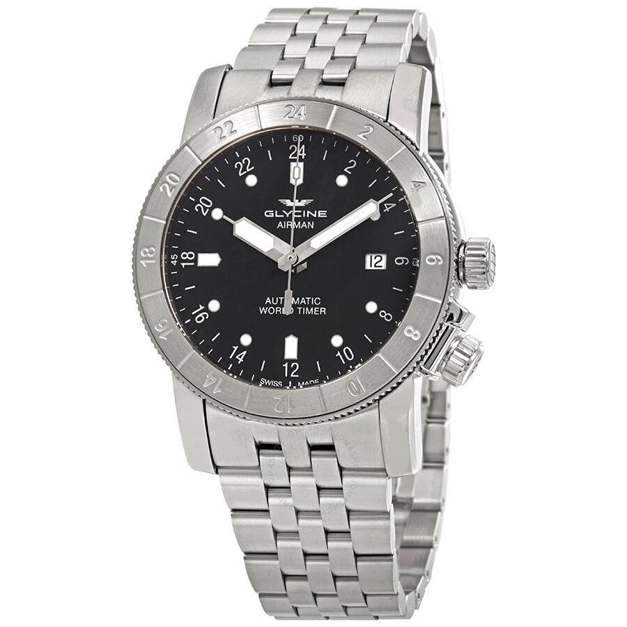 glycine airman purist automatic grey dial men s watch gl0139