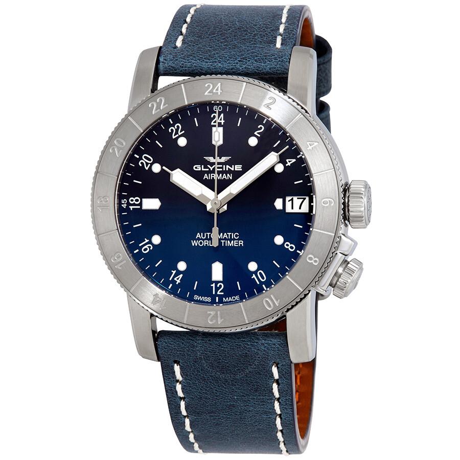 glycine airman purist world timer automatic men s watch gl0134