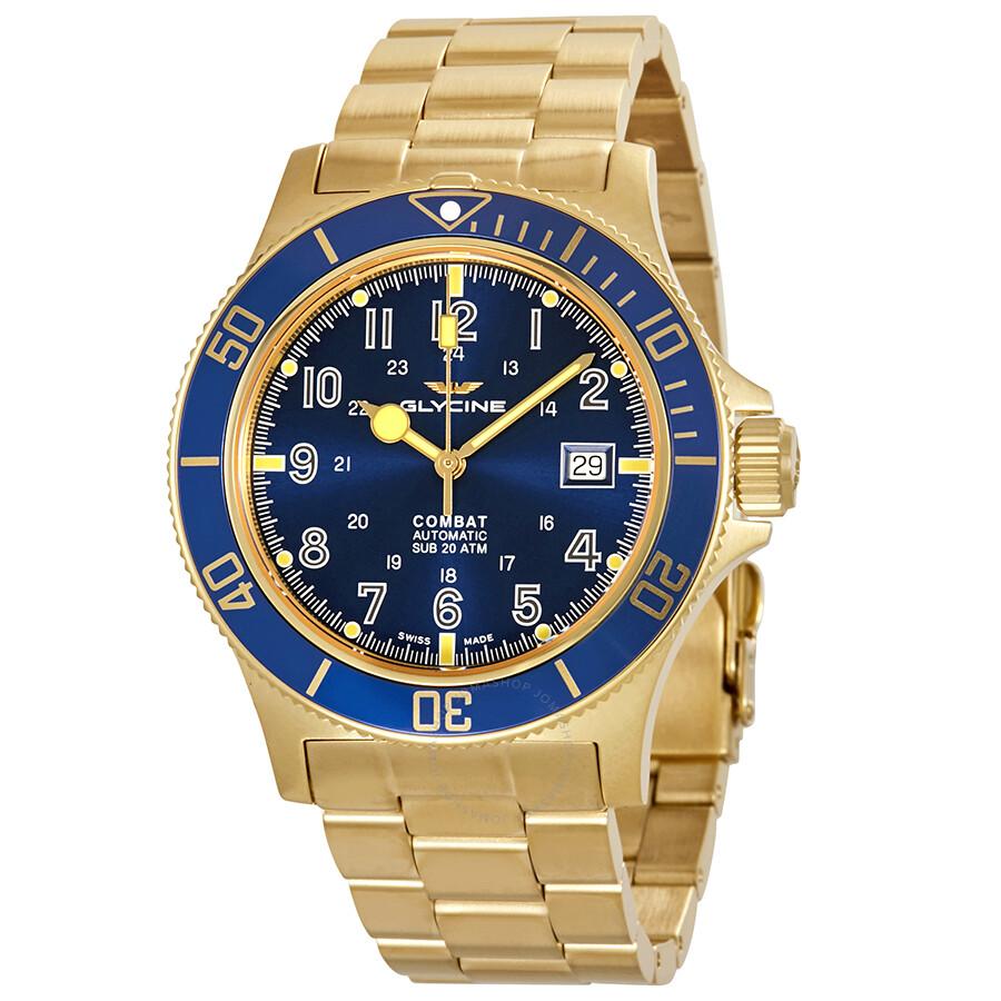 Glycine Combat Sub Automatic Blue Dial Yellow Gold Tone Men S Watch Gl0082