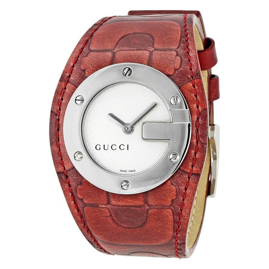 9e55737f5 Gucci 104 Silver Dial Burgundy Leather Strap Ladies Watch YA104522 ...