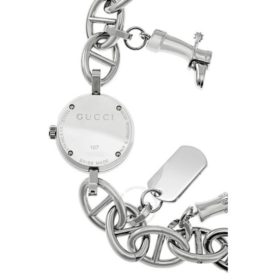 6145f5068 Gucci 107 Black Steel Charm Ladies Bracelet Watch YA107503 - Gucci ...