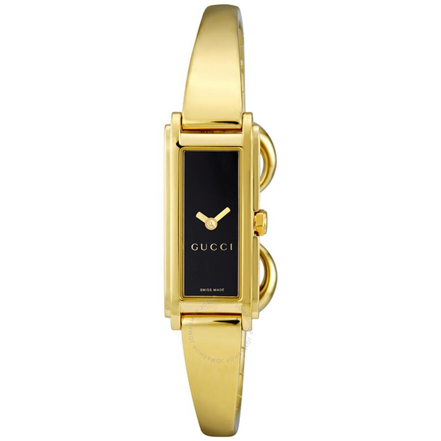 424ab08dd0f Gucci 109 18k Gold-Tone Black Ladies Watch YA109524 - Gucci ...