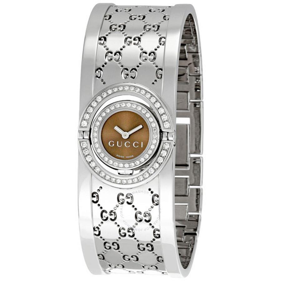 1011e4315cc Gucci 112 Twirl 2 Row Diamond Steel Bangle Ladies Watch YA112504 ...