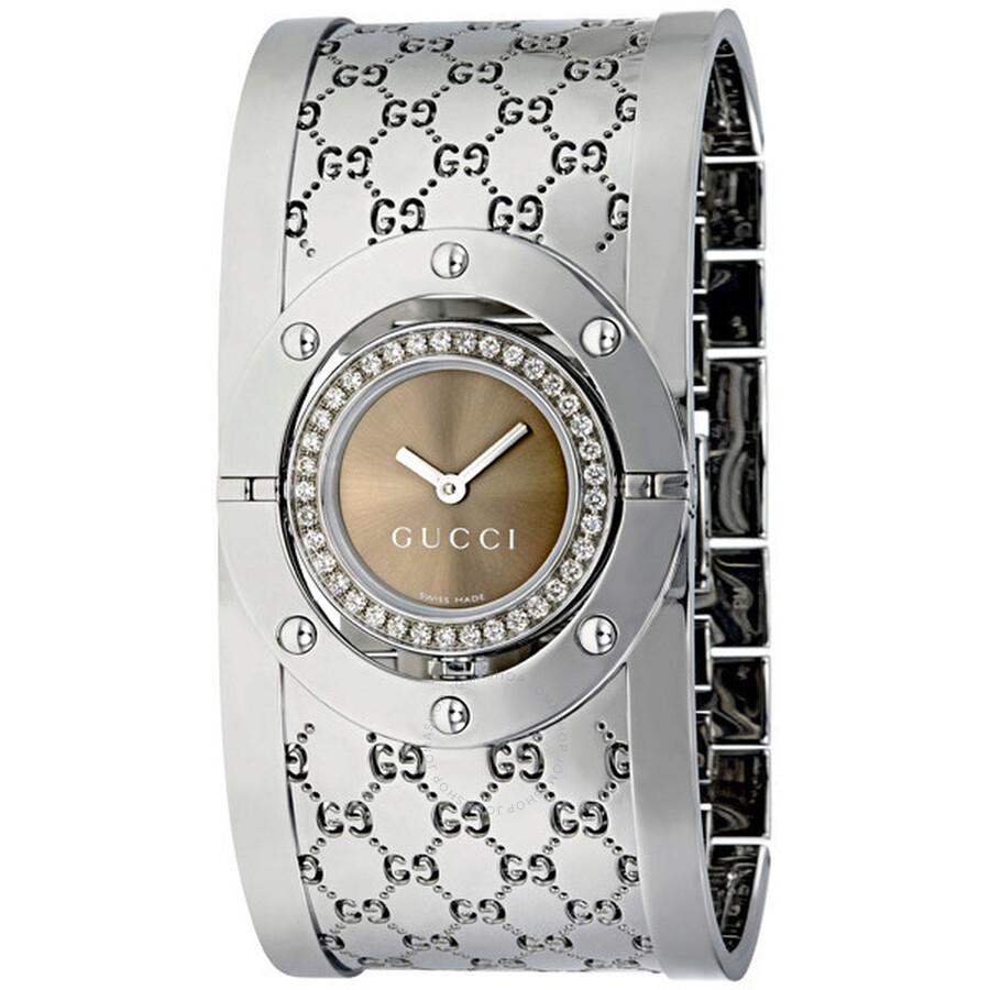 a00ac1ea248 Gucci 112 Twirl Diamond Brown Steel Ladies Watch YA112416 - Twirl ...