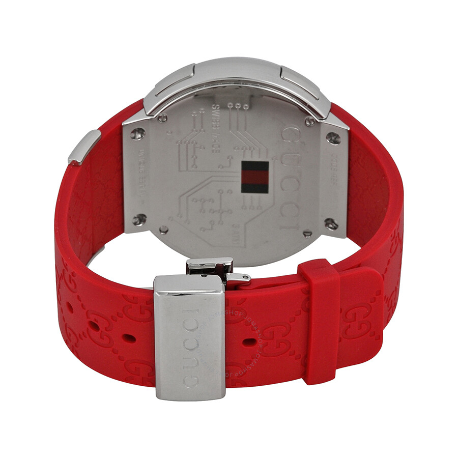 5051c021a ... Gucci 114 I-Gucci Red Rubber Extra Large Unisex Digital Watch YA114212  ...