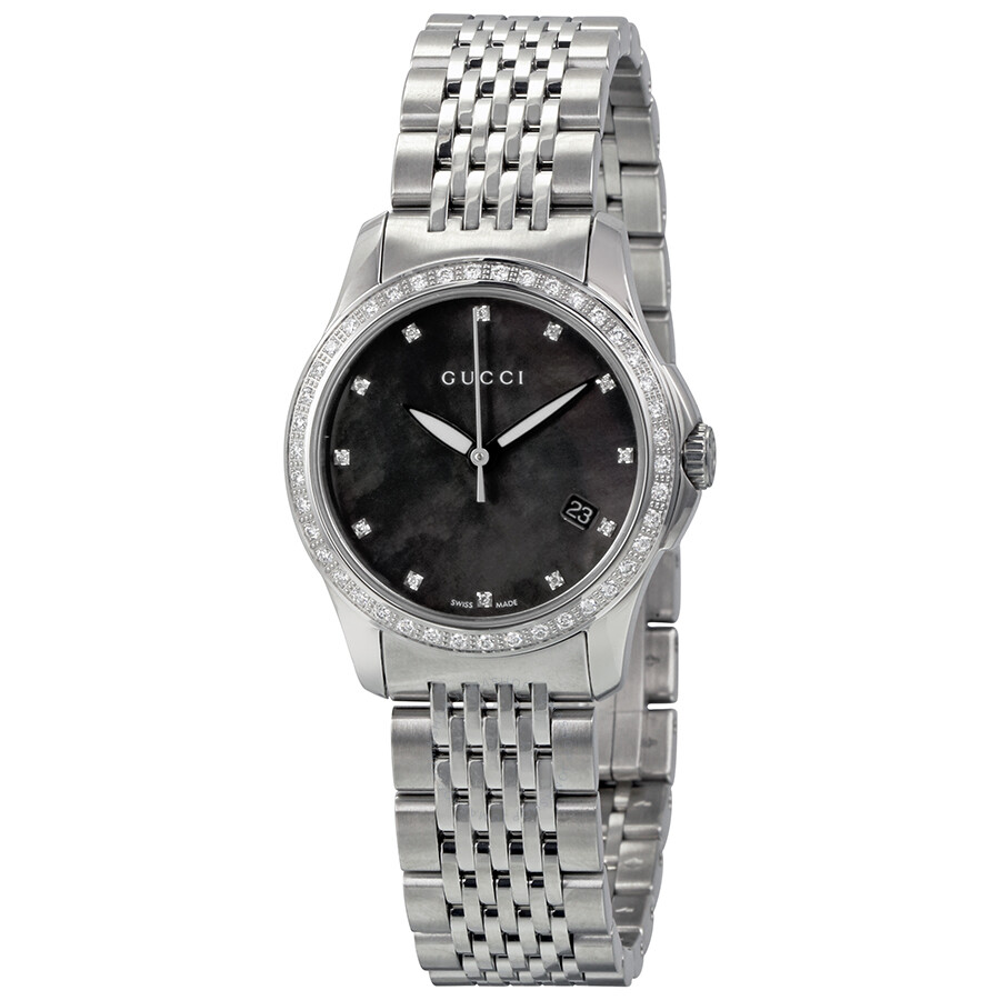 44ea80ea402 Gucci 126 G-Timeless Black Mother of Pearl Diamond Ladies Watch YA126509 ...