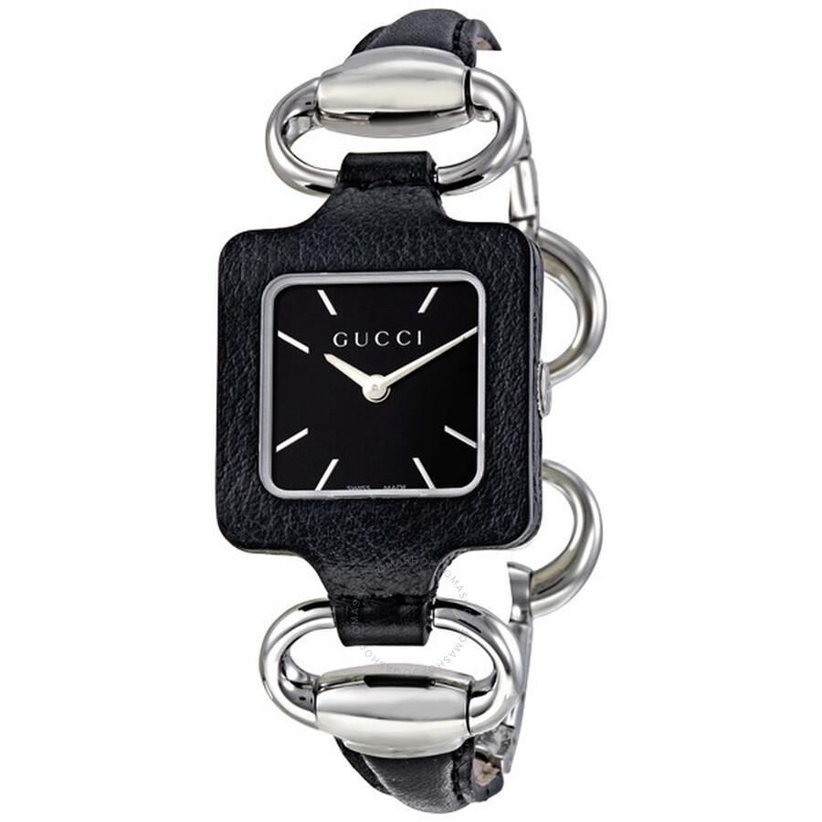 d5ba252e43f Gucci 1921 Black Dial Black Leather Ladies Watch YA130402 - 1921 ...