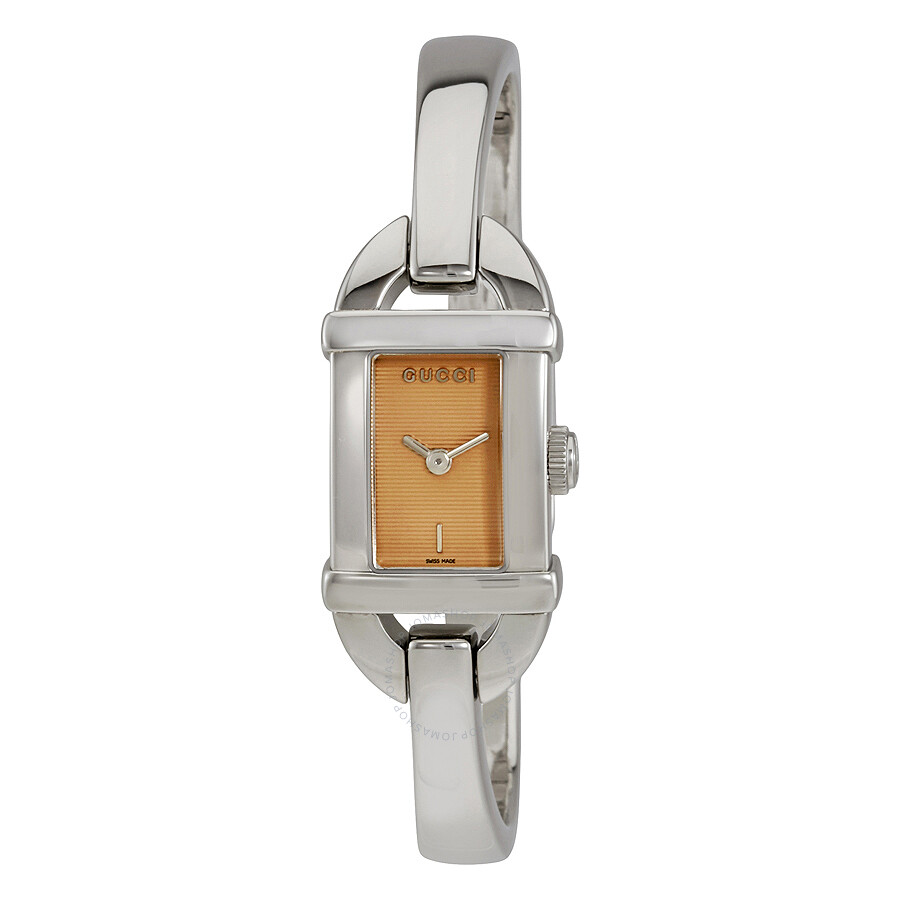 262255f9ab6 Gucci 6800 Beige Dial Stainless Steel Bangle Ladies Watch YA068540 ...