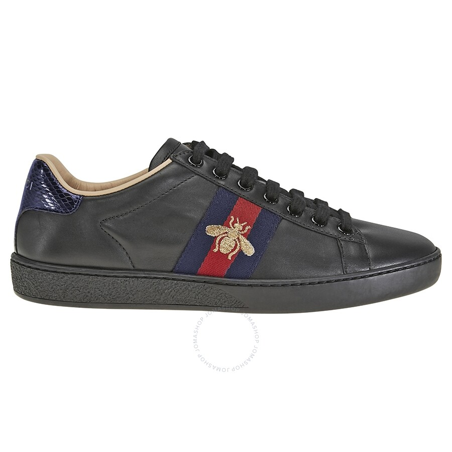 ac0945110ea Gucci Ace Embroidered Black Leather Sneakers GC431942A38G01284 ...