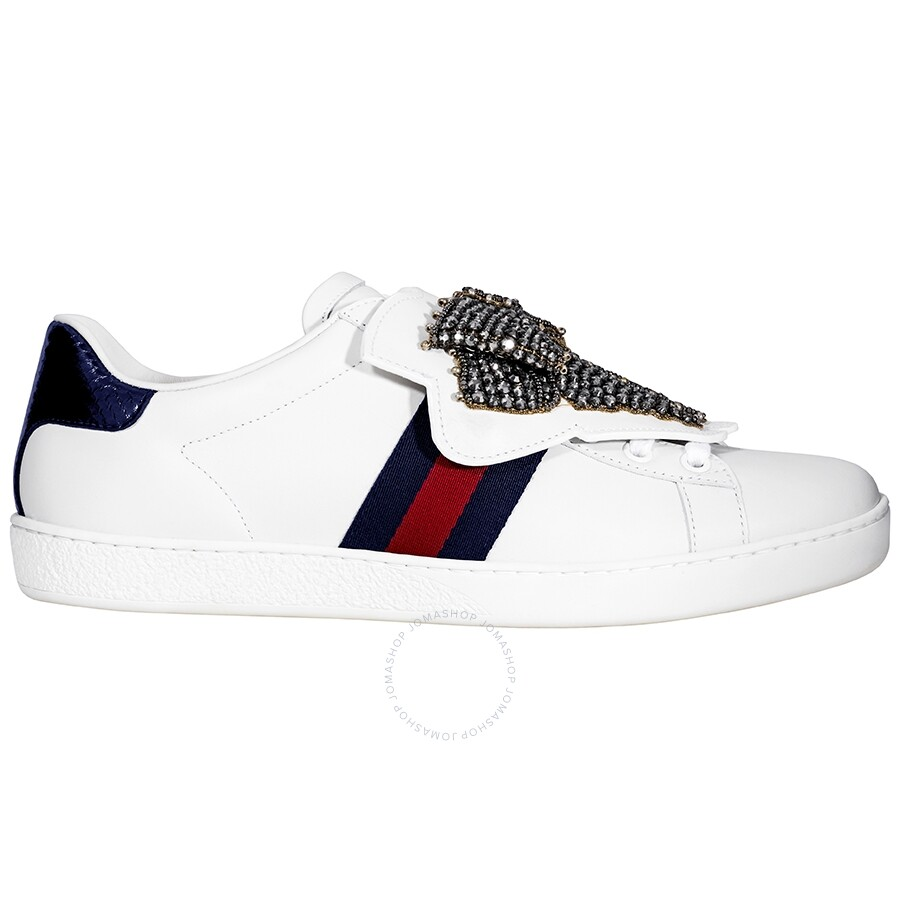 d8ab502f0c4 Gucci Ace Sneaker with Removable Crystal Bow Patches Item No. 481154 DOP80  9182