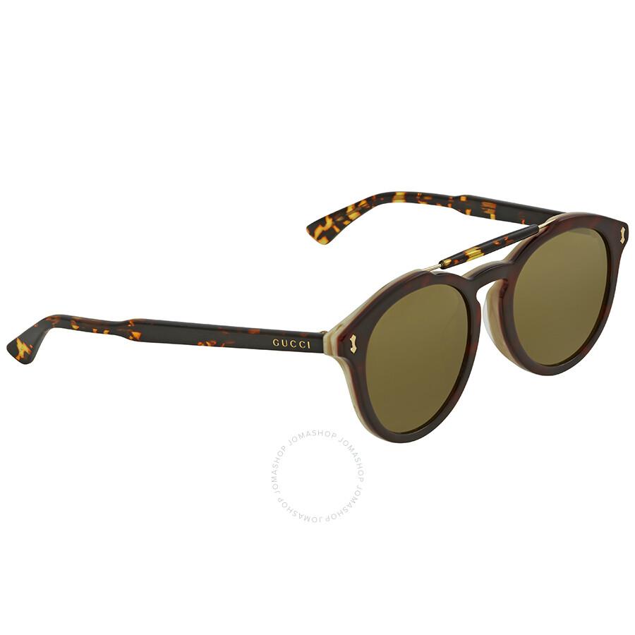 1e2cafa2641 Gucci Asian Fit Green Round Men s Sunglasses GG0124SA 003 52 - Gucci ...