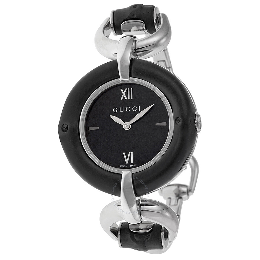 a2a7cef12f5 Gucci Bamboo Black Dial Stainless Steel Ladies Watch YA132405 ...