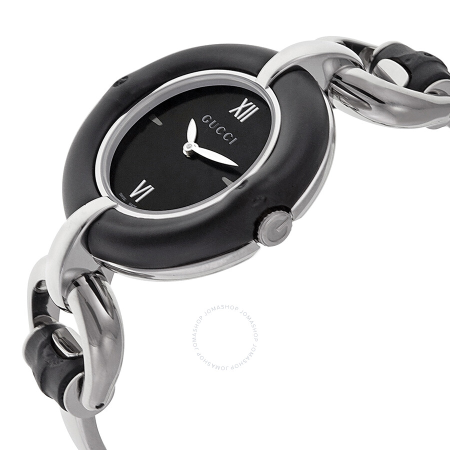 569f75acd15 ... Gucci Bamboo Black Dial Stainless Steel Ladies Watch YA132405 ...