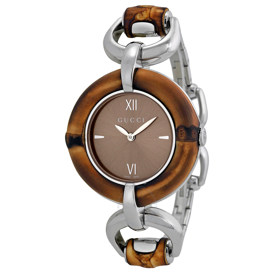 1e10978fec2 Gucci Bamboo Brown Dial Stainless Steel Ladies Watch YA132402 ...