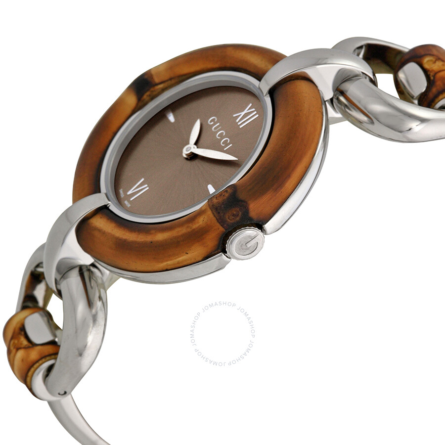 b38b5c7451c ... Gucci Bamboo Brown Dial Stainless Steel Ladies Watch YA132402 ...