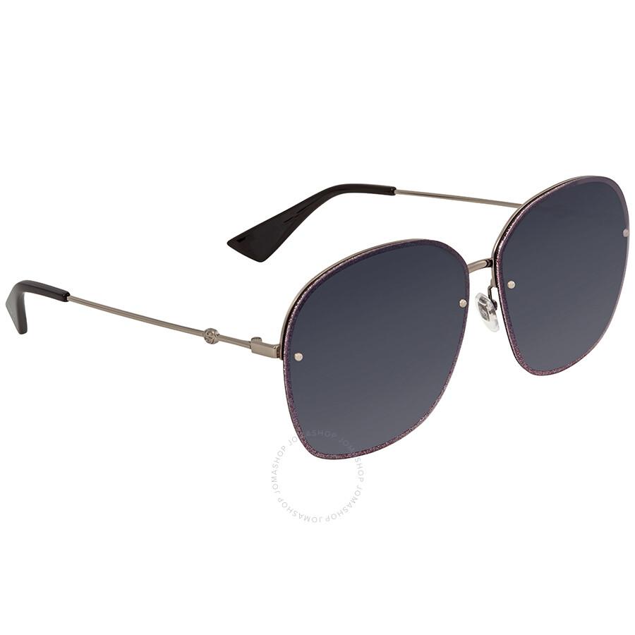 0756c445b0dd Gucci Blue Grey Gradient Oval Sunglasses GG0228S 004 63 - Gucci ...