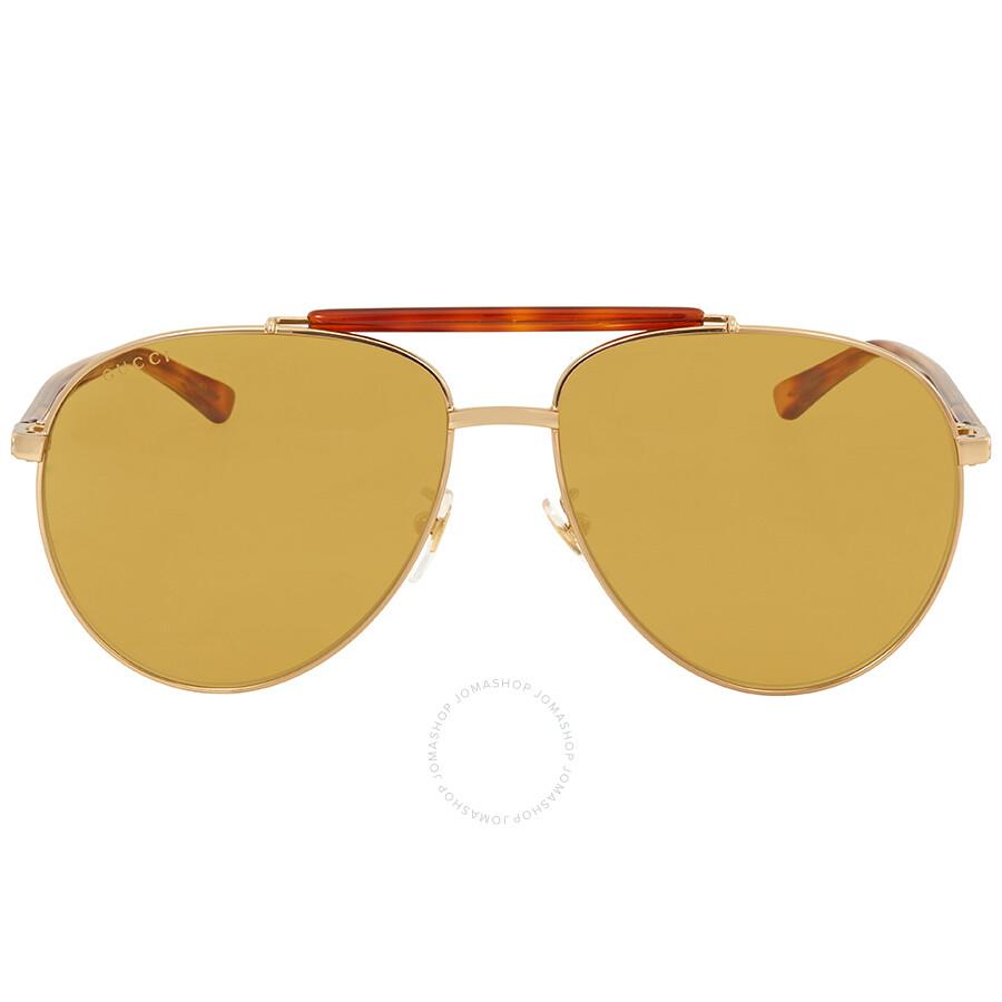 b23f5fb793a56 Gucci Brown Aviator Men s Sunglasses GG0014S 004 60 - Gucci ...
