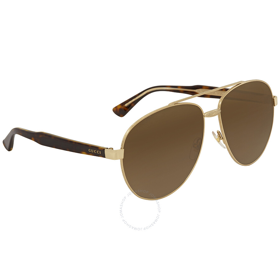 6f6eefc2080 Gucci Brown Aviator Sunglasses GG0054S 002 61 - Gucci - Sunglasses ...