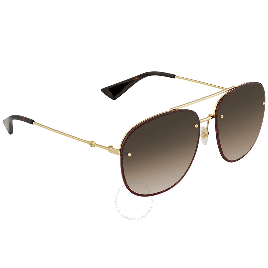 b9f76dd1cdf Gucci Brown Gradient Aviator Sunglasses GG0227S 003 62 - Gucci ...