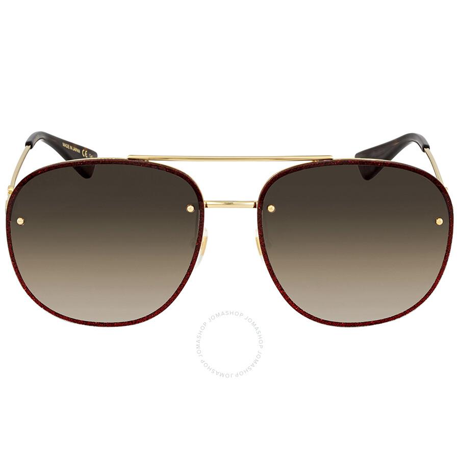 681a7431d5 ... Gucci Brown Gradient Aviator Sunglasses GG0227S 003 62 ...
