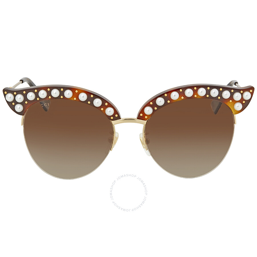 dc909451d0ed2 ... Gucci Brown Gradient Cat Eye with Pearls Sunglasses GG0212S 002 53 ...