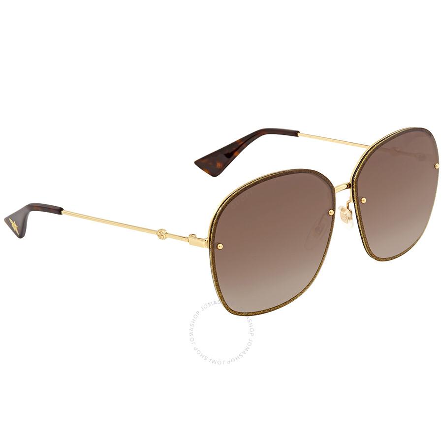 56ef5d29adb Gucci Brown Gradient Oval Sunglasses GG0228S 003 63 - Gucci ...