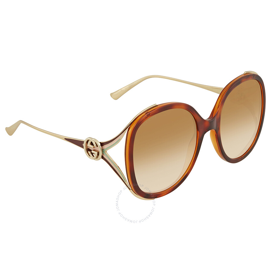 f62a567b510 Gucci Brown Gradient Round Ladies Sunglasses GG0226S 005 56 - Gucci ...