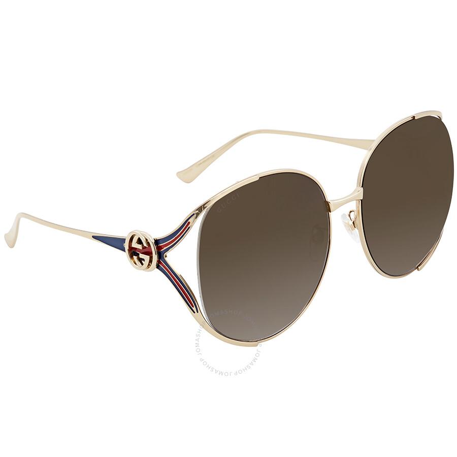 8a162822b1 Gucci Brown Gradient Round Sunglasses GG0225S 002 63 - Gucci ...