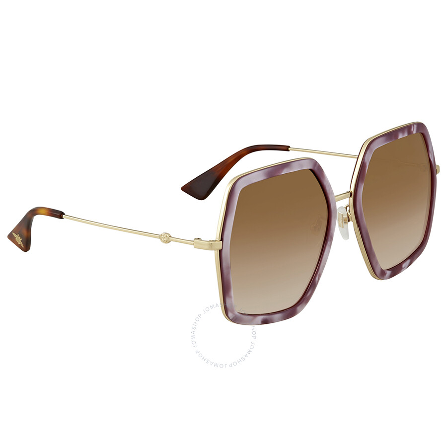 cbacd6c7dcd Gucci Brown Gradient Square Ladies Sunglasses GG 0106S 004 56 ...