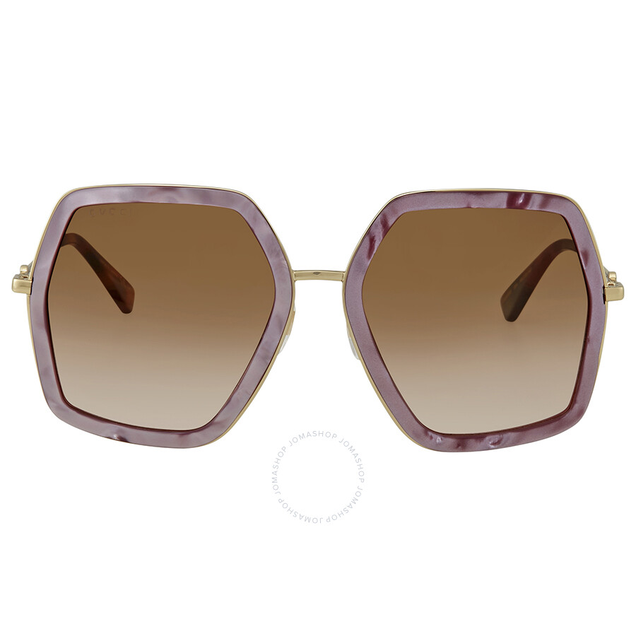 c8d0ac75b1a13 ... Gucci Brown Gradient Square Ladies Sunglasses GG 0106S 004 56 ...