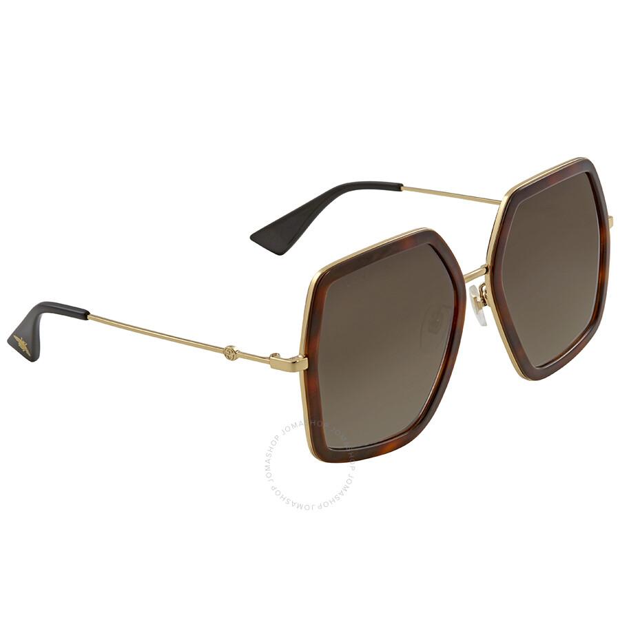 7dbac4baeab Gucci Brown Gradient Square Sunglasses GG0106S 002 56 - Gucci ...