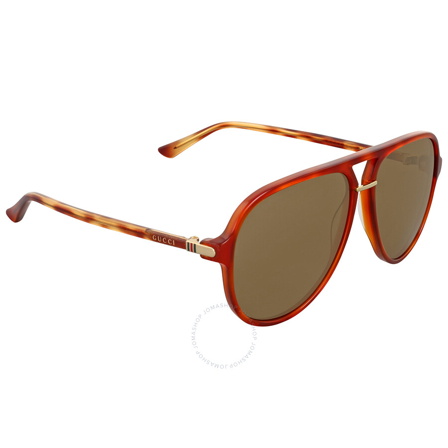 8c74188709d3 Gucci Brown Havana Aviator Sunglasses - Gucci - Sunglasses - Jomashop
