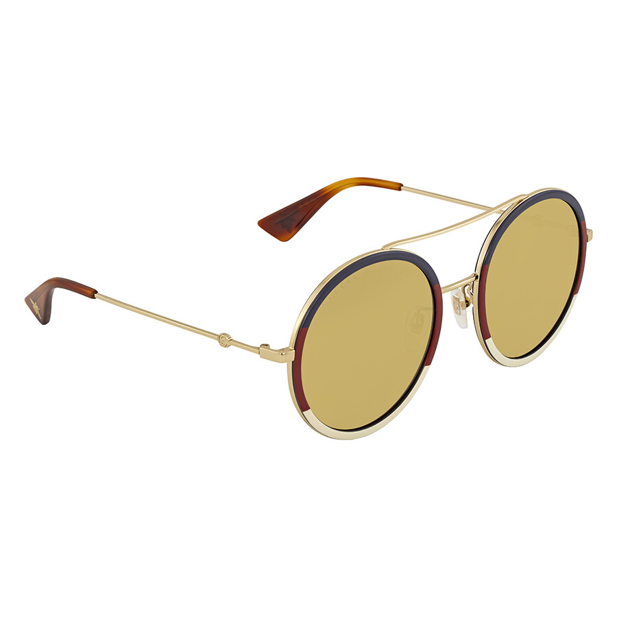 8241452852988 Gucci Brown Round Ladies Sunglasses GG0061S 015 56 - Gucci ...