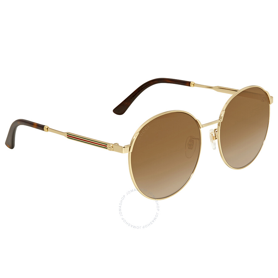 c3dffbd0c8e Gucci Brown Round Sunglasses GG0206SK 003 58 - Gucci - Sunglasses ...