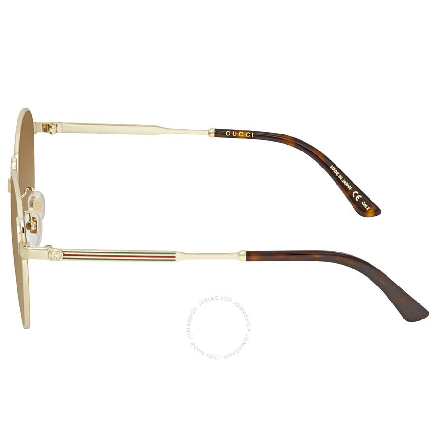 12772ed0ab74b Gucci Brown Round Sunglasses GG0206SK 003 58 - Gucci - Sunglasses ...