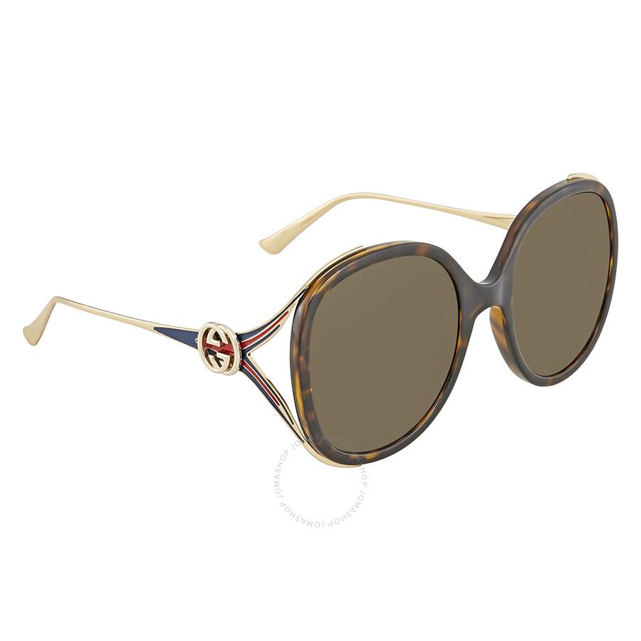 bba6ce4a59d Gucci Brown Round Sunglasses GG0226S 002 56 - Gucci - Sunglasses ...