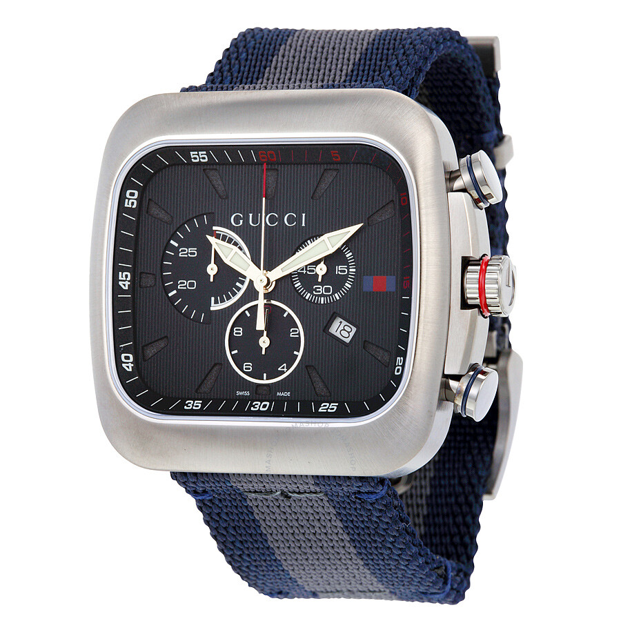 4f52d472fed Gucci Coupe Chronograph Blue Dial Blue and Grey Nylon Men s Watch YA131203  ...